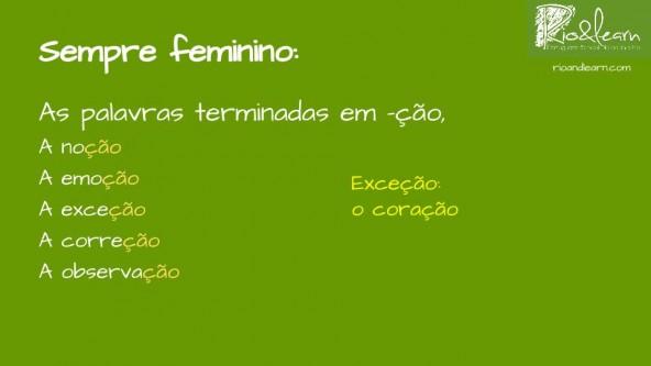 Words ending in ção in Portuguese are mostly feminine. Examples: a noção, a emoção, a exceção, a correção, a observação. Exception: o coração.