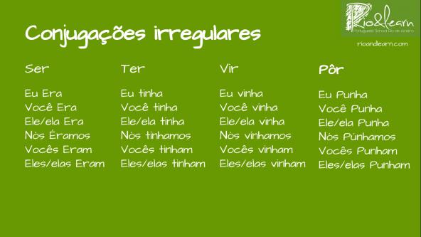 Conjugation of the irregular verbs at the Imperfect Past in Portuguese: Conjugation of ser (to be): Eu era, você era, ele/ela era, nós éramos, vocês eram, eles/elas eram. Conjugation of ter (to have): Eu tinha, você tinha, ele/ela tinha, nós tínhamos, vocês tinham, eles/elas tinham. Conjugation of vir (to come): Eu vinha, você vinha, ele/ela vinha, nós vínhamos, vocês vinham, eles/elas vinham. Conjugation of pôr (to put): Eu punha, você punha, ele/ela punha, nós púnhamos, vocês punham, eles/elas punham.