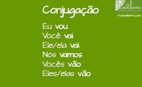 Conjugación del presente del verbo ir en portugués: eu vou, você vai, ele/ela vai, nós vamos, vocês vão, eles/elas vão.