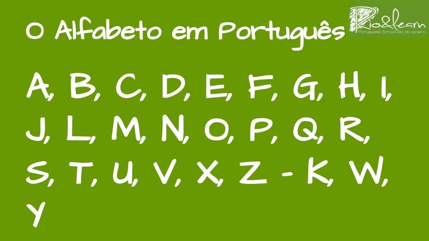 Portuguese Alphabet. O alfabeto em Português. A, B, C, D, E, F, G, H, I, J, L, M, N, O, P, Q, R, S, T, U, V, X, Z - K, W, Y