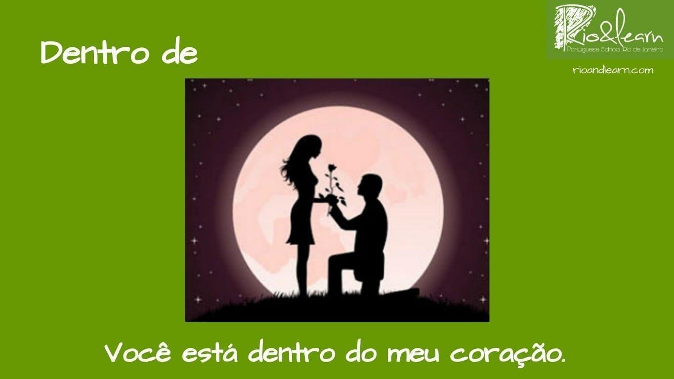 Preposiciones de Lugar en Portugués. Ejemplo con Dentro de: Você está dentro do meu coração.