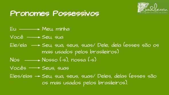 Los pronombres posesivos del portugués. Pronombres Posesivos. eu, minha, minha; você, seu, sua; ele/ela, dele, dela; nós, nosso, nossa; vocês, seus, suas; eles/elas, deles, delas.
