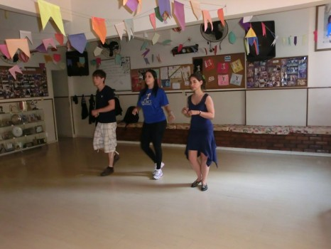 Portuguese students learning how to dance Samba
