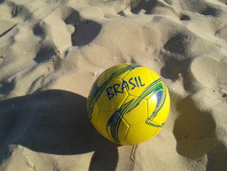 Our Rio&Learn Brazilian football ball on the sand of the beach.