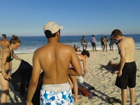 Getting ready to swim on Copacabana Beach.