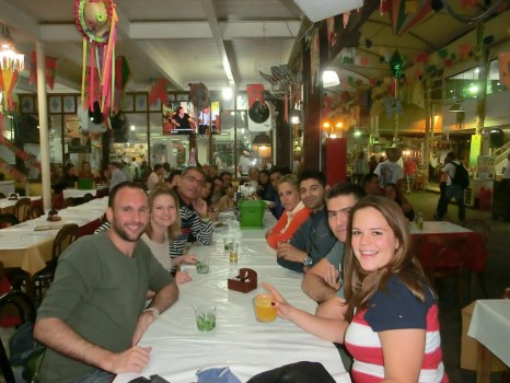 Having dinner and talking Portuguese at Feira de São Cristóvão