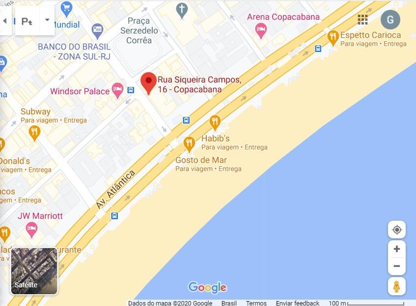 Mapa da Rio & Learn até a praia de Copacabana. Rio de Janeiro.