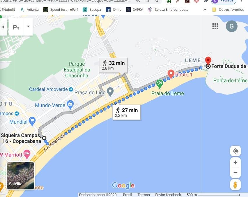 Exemplo das direções em Português: Mapa da Rio & Learn até o Forte do Leme. Rio de Janeiro.