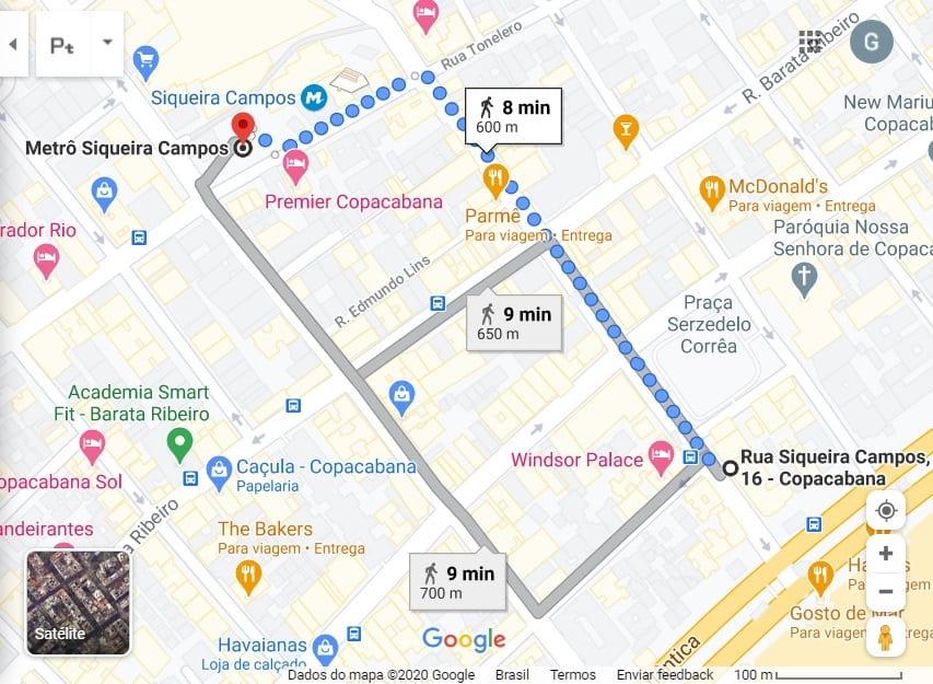 Mapa da Rio & Learn até o metrô Siqueira Campos. Rio de Janeiro.