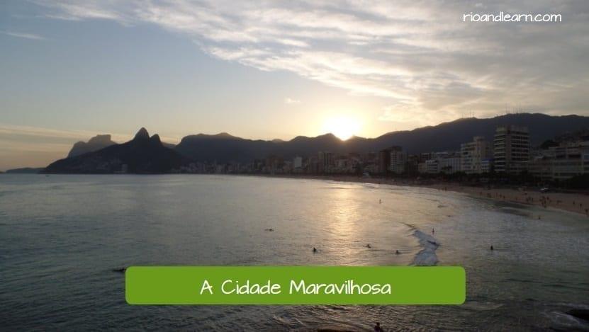 A história do Rio de Janeiro. Lindo pôr do sol no Rio de Janeiro