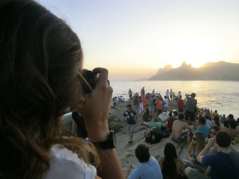 Pôr-do-sol no Arpoador, Rio de Janeiro.