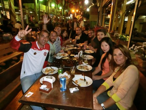 São Cristóvão Fair, Portuguese language students having dinner.