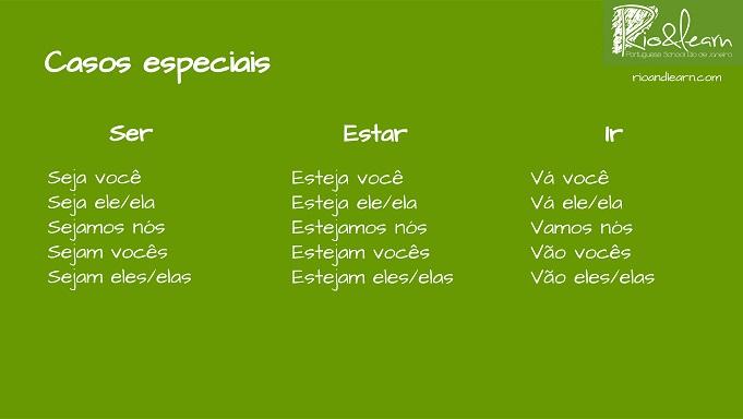 Conjugación de los casos especiales del imperativo del portugués. Verbos Ser, Estar e Ir en imperativo en portugués: Seja, Sejamos, Sejam. Esteja, Estejamos, Estejam. Vá, Vamos, Vão.