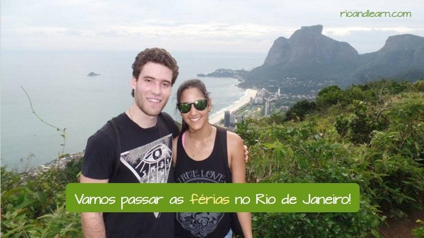 Férias no Brasil. Vamos passar as férias no Rio de Janeiro. Casal tirando foto no morro dois irmãos.
