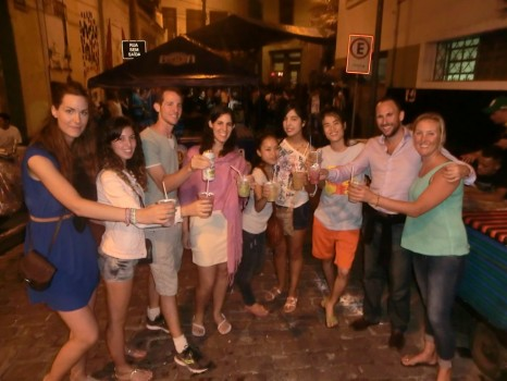 Pedra do Sal, students of Portuguese drinking Caipirinhas