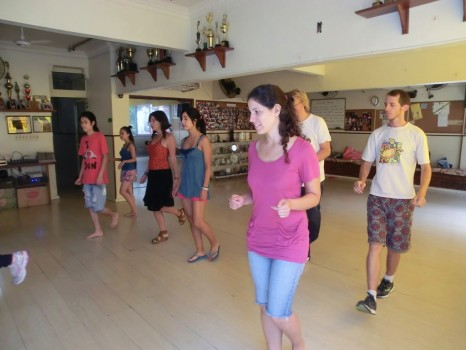 Portuguese Students learning how to dance Samba no Pé with a Carioca Samba dancer.