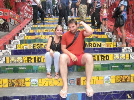 Visita à Escadaria Selarón, com estudantes da Austrâlia e a Dinamarca