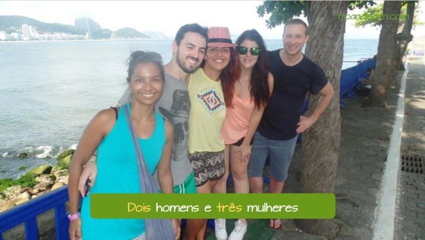 Frases com números em Português. Dois homens e três mulheres.