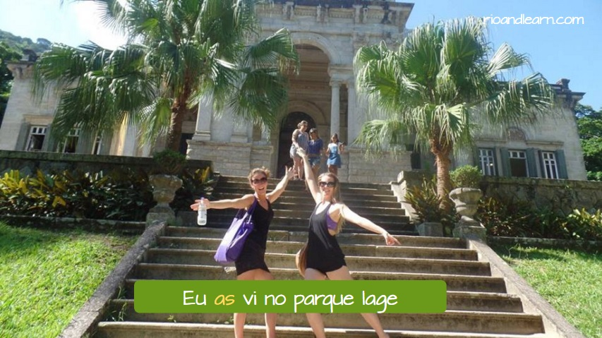 Personal Pronouns O and A. Eu as vi no parque lage