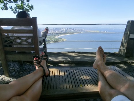 Relaxing at Pão de Açúcar, our feet and the views.