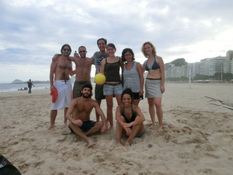 After a beach volleyball match in Copacabana
