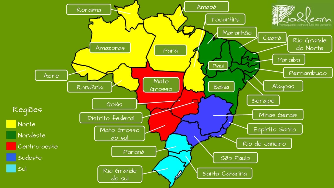 Brazil States and regions. Full map of Brazil an names of Brazilian states.