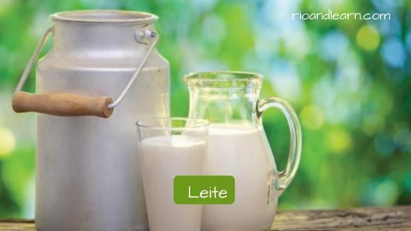 Cosas esenciales en un desayuno brasileño, en portugués. Leche: Leite.