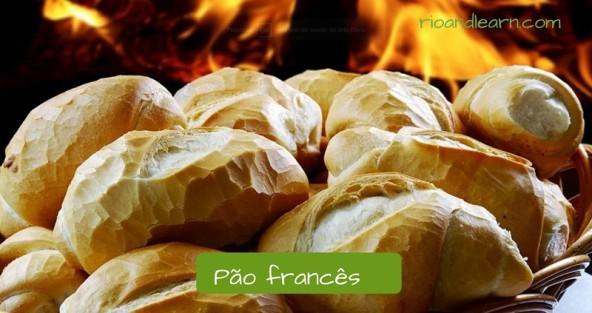 Vocabulario de un desayuno típico de Brasil en portugués. Pan francés: Pão francês.