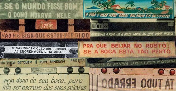 Frases ingeniosas en portugués en los camiones.