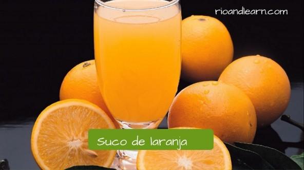 Vocabulario de Desayuno en portugués. Jugo de narana: Suco de laranja