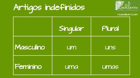 Artigos indefinidos em Português. Em português existem quatro artigos indefinidos. Os artigos indefinidos do singular são: Um e Uma. Os artigos definidos para o plural são: Uns e Umas. Tabela com a divisão dos artigos indefinidos em singular, plural, masculino e feminino.