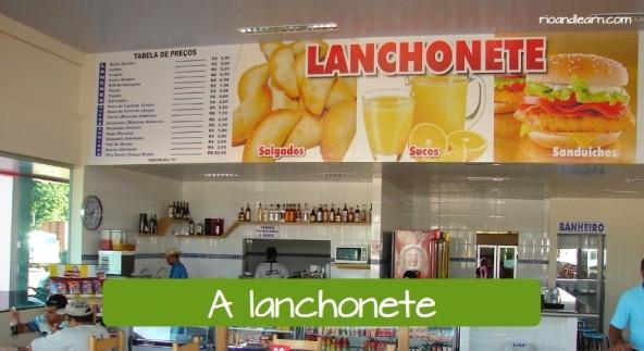 Vocabulário de Lanchonete em Português. Lanchonete comum com tabela de preços na parte de cima.