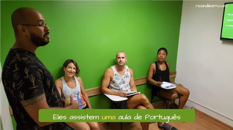Indefinite articles in Portuguese. In Portuguese there are four indefinite articles. The indefinite articles in the singular form are: Um and Uma. The indefinite articles in the plural form are: Uns and Umas. A table with the indefinite articles divided into singular, plural, masculine and feminine. Eles assistem uma aula de português.
