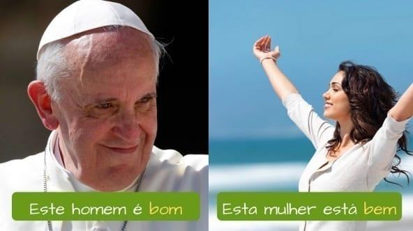 Difference between Bom and Bem in Portuguese. Este homem é bom. Esta mulher está bem.