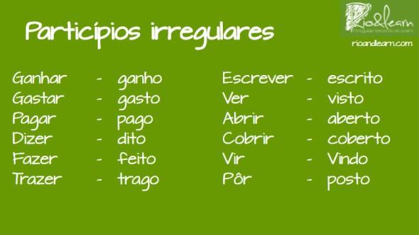 Participio de verbos irregulares en Portugués: Ganhar - ganho. Gastar - gasto. Pagar - pago. Dizer - dito. Fazer - feito. Trazer - trago. Escrever - escrito. Ver - visto. Abrir - aberto. Cobrir - coberto. Vir - vindo. Por - posto.