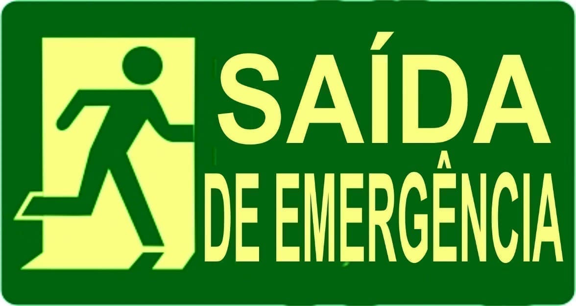 Safety Signs in Portuguese. Saída de Emergência.