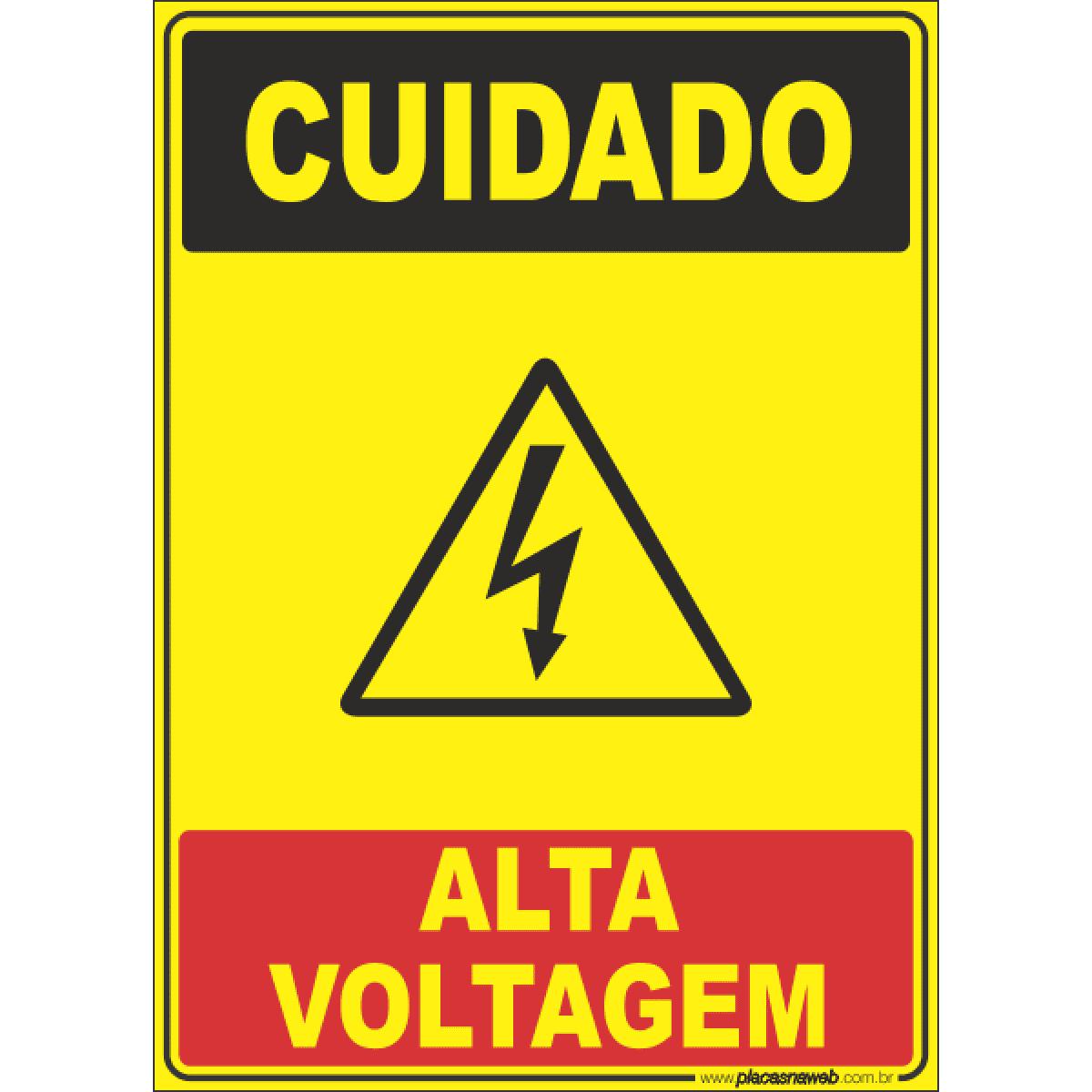 Safety Signs in Portuguese. Cuidado Alta Voltagem