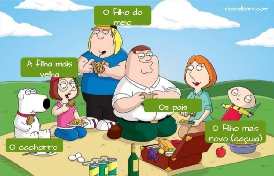 La familia en Portugués. O filho do meio, a filha mais velha, o cachorro, os pais, o filho mais novo (caçula)