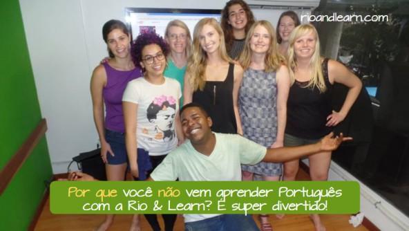 The use of Por que não in Portuguese. Por que você não vem aprender Português com a Rio & Learn? É super divertido!