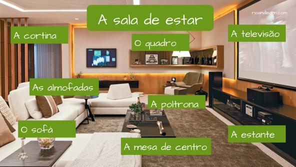 Objetos da Sala de Estar em Português. A sala de estar tem: A cortina, as almofadas, o sofá, o quadro, a poltrona, a mesa de centro, a televisão, a estante.