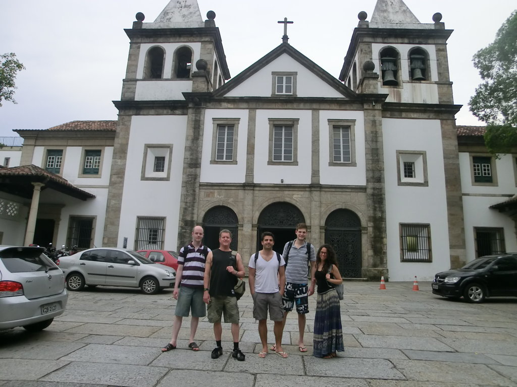 Students and the beautiful church