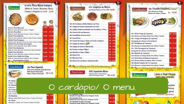 Cardapio o menu ordering food in portuguese