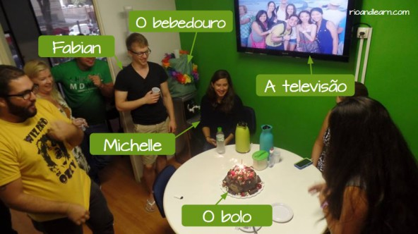Students at Rio & Learn: Fabian, Michelle, a television, a water fountain, a cake.