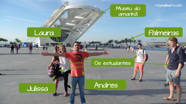 Foreigners students of Portuguese language at Museus do Amanhã in Rio de Janeiro.