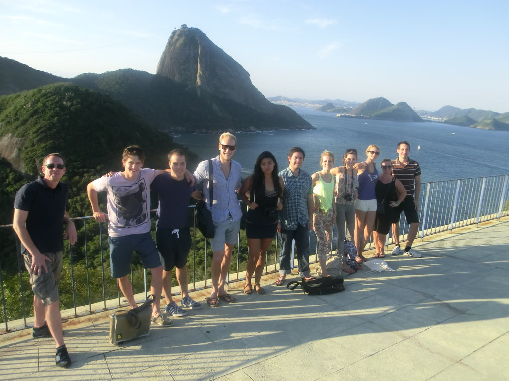 Our foreigner students enjoying Forte do Leme in front of the Sugar Loaf