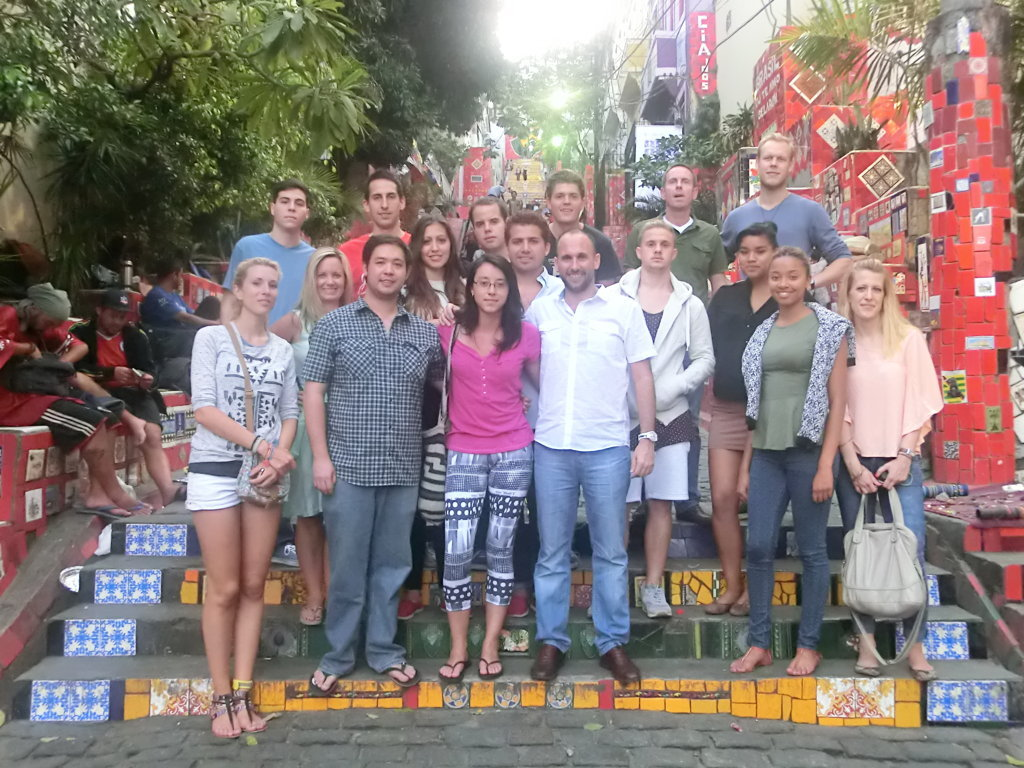 Lapa on Friday, foreign students at Escadaria Selarón