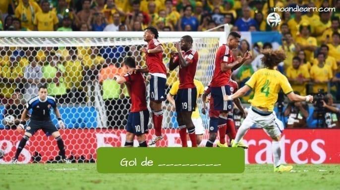Gol de falta en portugués