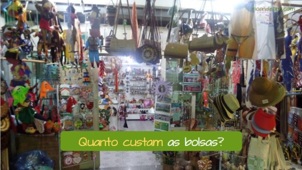 Shopping Phrases in Portuguese. Example: Quanto custam as bolsas?