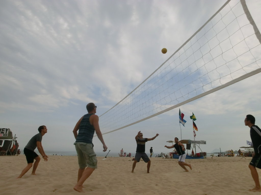 Portuguese students playing Volleball