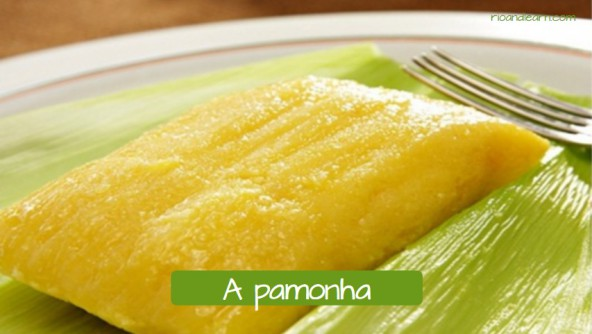 Typical Brazilian dessert: A pamonha.